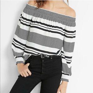 Express   Cold Shoulder Stripes top